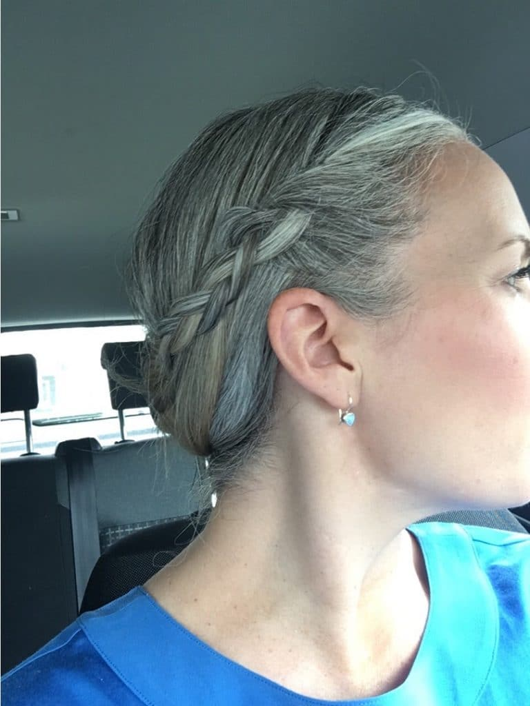 This is what happened when I stopped Dyeing my Hair.  Over 40's woman transitioning to grey hair with a plait hairstyle.